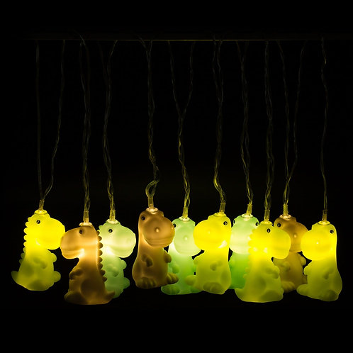 DHINK LED STRING LIGHTS | MIXED COLOURED JURASSIC DINOSAURS | 10 LIGHTS