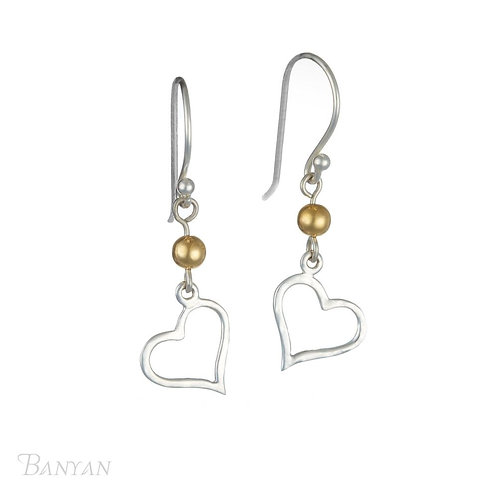 Banyan Silver Heart Earring With Gold Bead