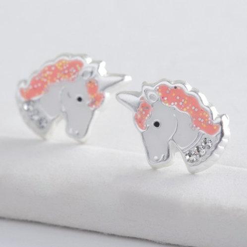 Sterling Silver Enamel Unicorn Head Stud Earrings
