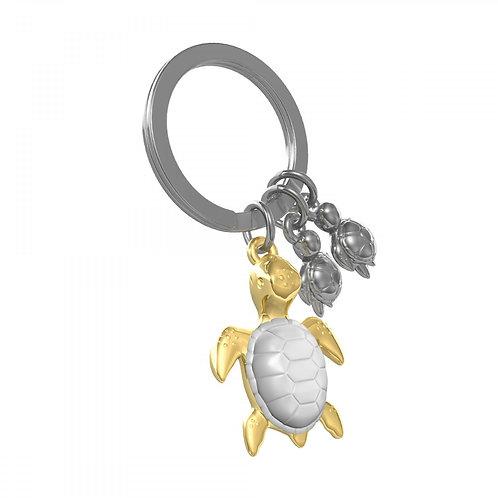 Metalmorphose Keyrings| White & Gold Turtle and Family Keyring METALMORPHOSE KEY