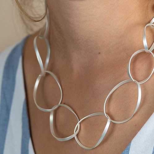 Silver plated matt finish twisted hoop necklace