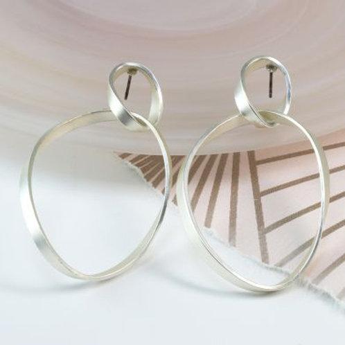 Silver plated matt finish twisted hoop earrings