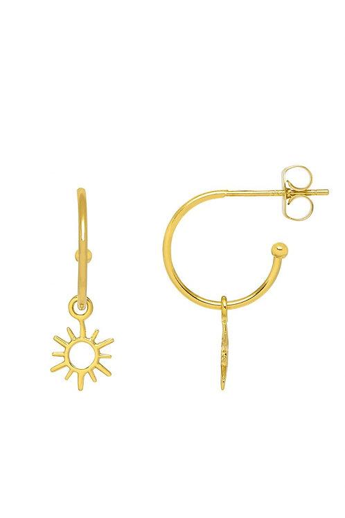 ESTELLA BARTLETT - Sun Charm Drop Hoop Earrings Gold Plated