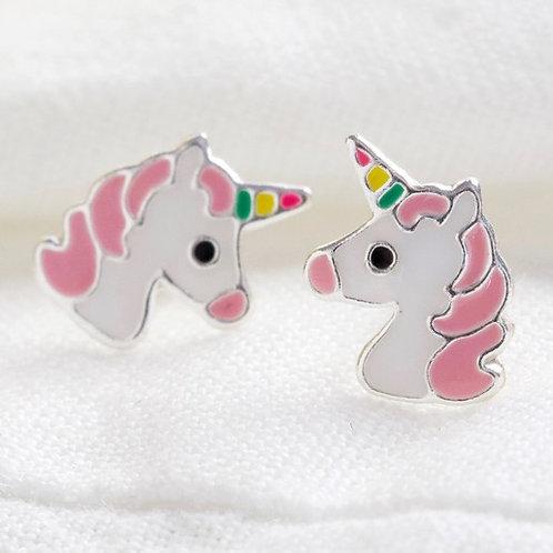 Pink Unicorn Studs Sterling Silver