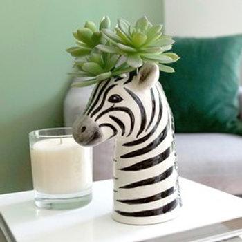 Ceramic Zebra Head Vase