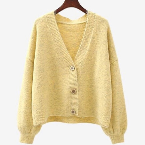 Chunky V Neck Cardigan pale yellow