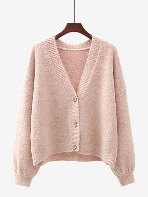 Chunky V Neck Cardigan - Pale Pink