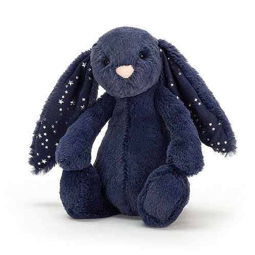 Jellycat Bashful Bunny Soft Toy, Medium, Blue Stardust