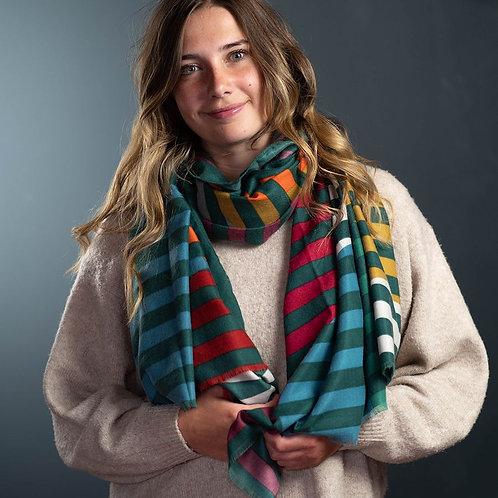 Green, mustard and orange circle stripe scarf