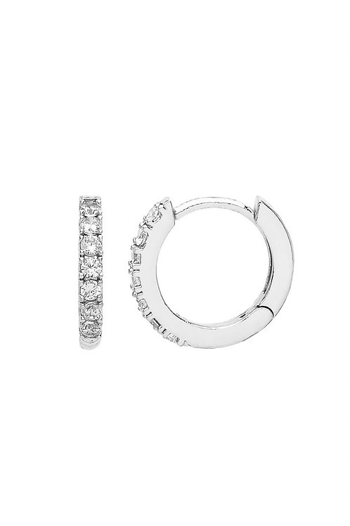 ESTELLA BARTLETT - Hoop Earrings with White CZ Silver Plated
