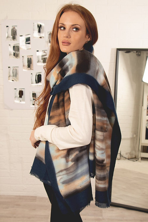 Navy SCARF - Blue Taupe Brush Stroke Abstract Stripe