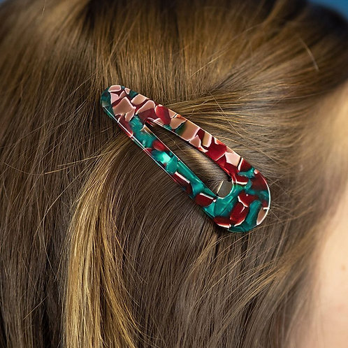 Green and red mix double teardrop hairclip set