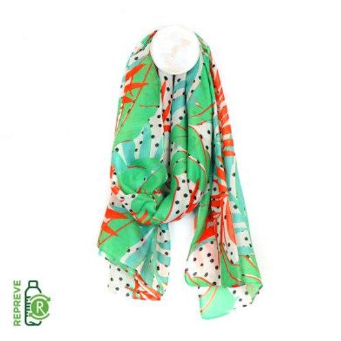 Scarf - recycled yarn bright tropical print