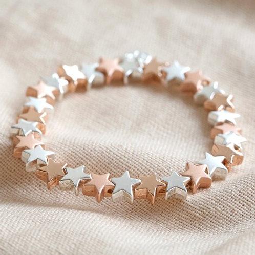 Silver and Rose Gold Star Stretch Bracelet