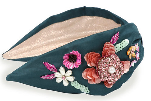 POWDER - Embroidered floral headband in Teal