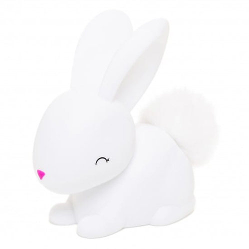 WHITE BUNNY WITH FLUFFY FAUX FUR POM TAIL