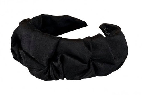 BLACK COLOUR Dk - Drape Satin Headband in Black