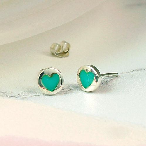 Sterling silver and turquoise heart stud earrings