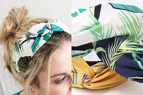 Green and white tropical print headband