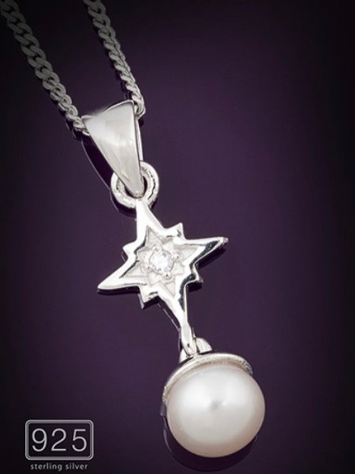 Sterling Silver Necklace Freshwater Pearl Starburst