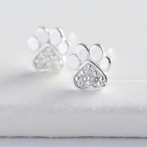 Sterling Silver and Crystal Paw Stud Earrings