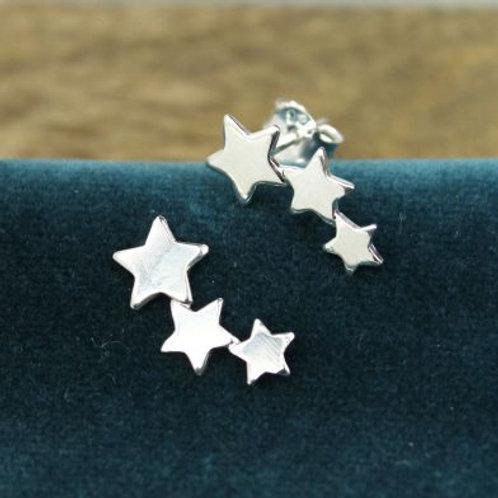 Sterling Silver Row of Stars Stud Earrings