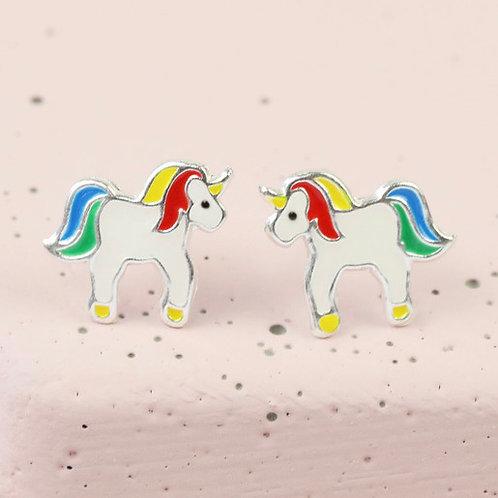 Rainbow Unicorn Studs Sterling Silver