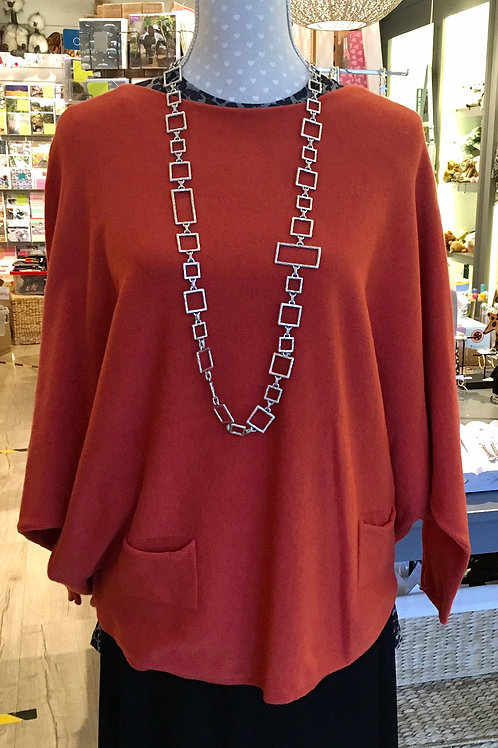 Rust Batwing loose sweater  with Pockets