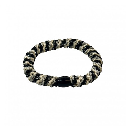 BLACK COLOUR Kally Hair Elastic in Black/White