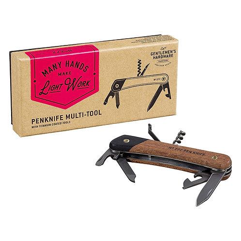 Gentlemen's Hardware Pen Knife Multi-Tool Acacia Wood and Titanium Finish