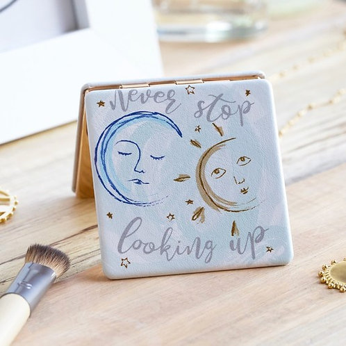Never Stop Looking Up' Sun and Moon Compact Mirror