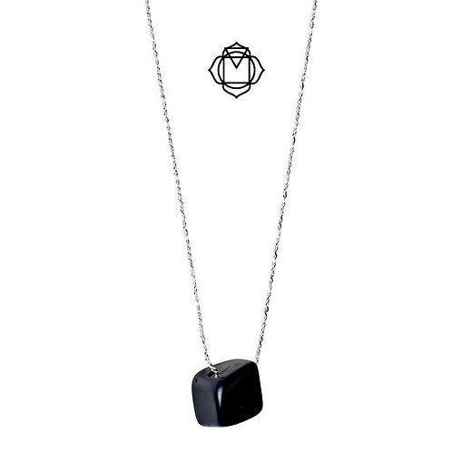 PILGRIM Root Chakra : Silver Plated : Black Agate
