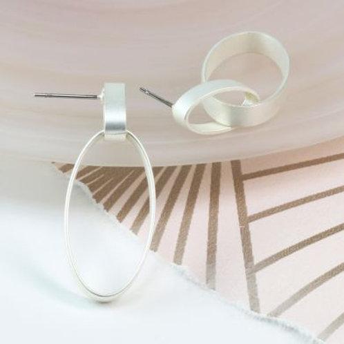 Silver plated matt finish linked hoop earrings