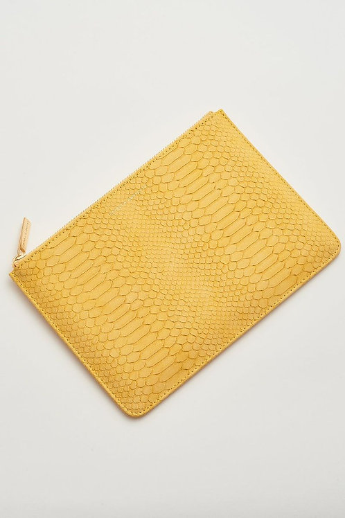 ESTELLA BARTLETT - Medium Pouch Mustard Snake-effect