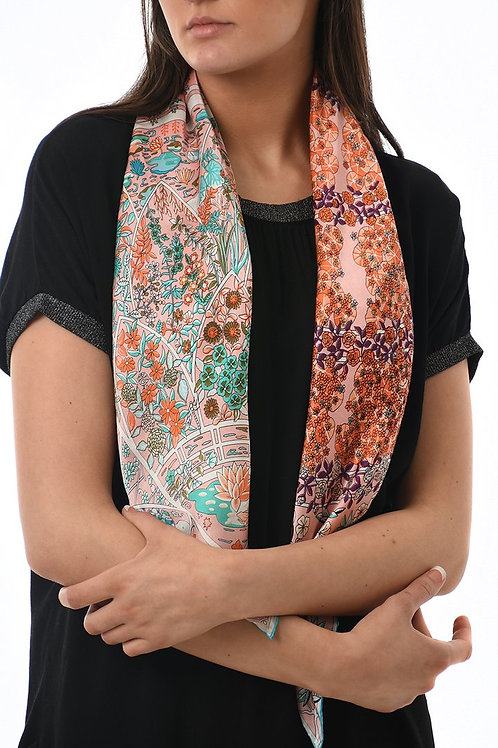 Pink and orange silk scarf