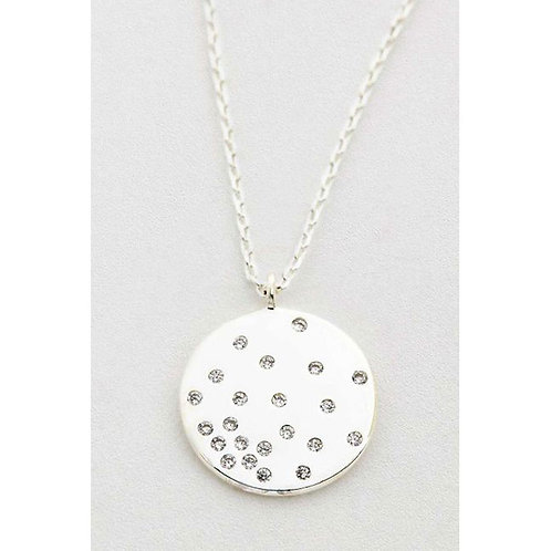 Estella Bartlett Silver Plated Round Clear Cubic Zirconia Disc Necklet