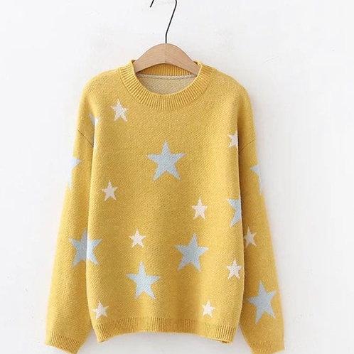 Chunky star jumper in mustard
