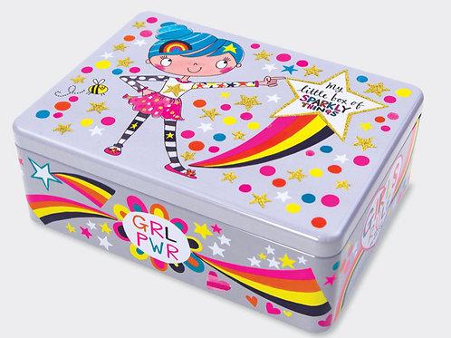 RACHEL ELLEN - FLITTERED RECTANGULAR TIN ‐ BOX OF SPARKLY THINGS/GIRLS RULE
