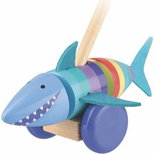 Orange Tree Shark Push Along Wooden Toy
