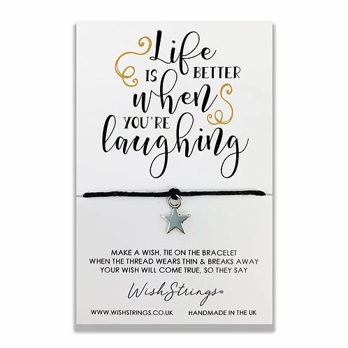 WISH STRINGS - Life Is Better Laughing Bracelet With Lucky Charm
