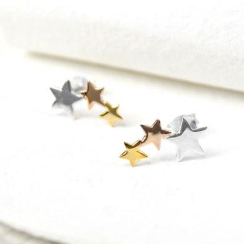 Silver, Gold, Rose Gold Triple Star Earrings