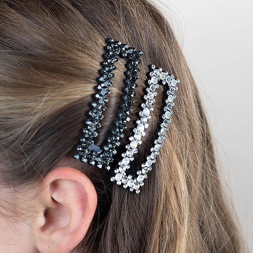 Grey and white shell rectangle hair clips