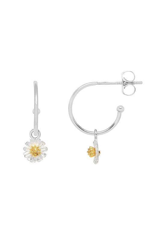 ESTELLA BARTLETT - Wildflower Drop Hoop Earrings Gold and Silver Plated