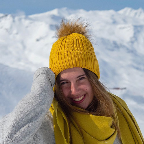 Mustard cable knit faux fur bobble hat
