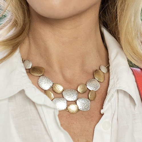 Silver and gold plated hammered pebbles necklace