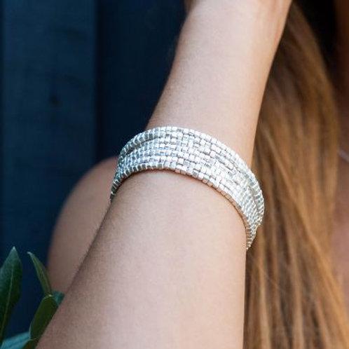 Multi strand matt silver beads bracelet