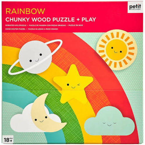 Petit Collage - Chunky Wood Puzzle Play Rainbow