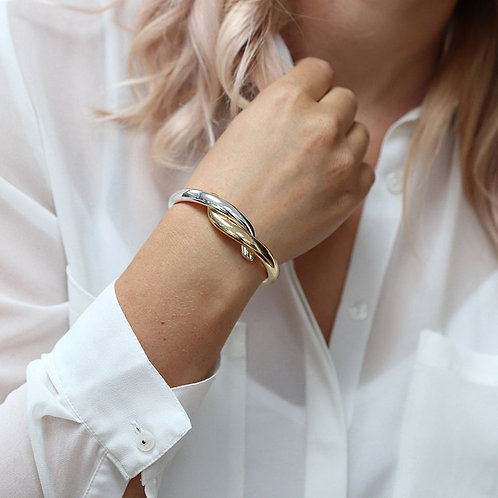 Gold plated and silver plated double curve bangle