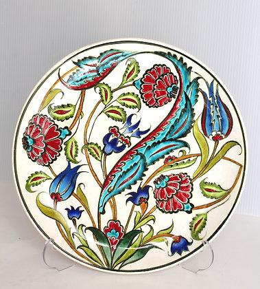 "10"" Handmade Turkish Iznik Blue Tulip & Carnation Pattern Ceramic Plate"