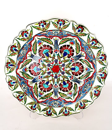 "Turkish Ceramic Plate 12"" - Iznik Carnation & Floral Pattern"